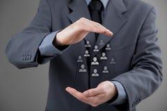 Принципиальная схема заботы клиента или работников стоковое фото rf