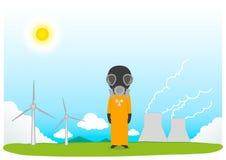 Принципиальная схема зеленой энергии способной к возрождению: маргаритка и трава над символом сломленной ядерной энергии Стоковая Фотография