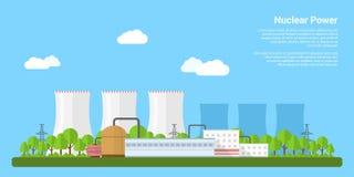Принципиальная схема зеленой энергии способной к возрождению: маргаритка и трава над символом сломленной ядерной энергии бесплатная иллюстрация