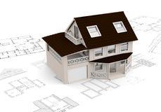 Принципиальная схема здания с светокопиями иллюстрация штока
