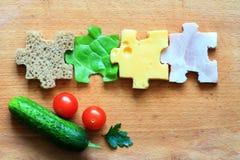 Принципиальная схема диеты ингридиентов головоломки еды творческая Стоковая Фотография RF