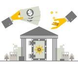 принципиальная схема инвестируя деньги Рука кладя монетку денег на банк Плоская иллюстрация Стоковая Фотография