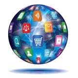 Принципиальная схема интернета. Глобус. Значки применения. Стоковая Фотография RF