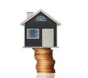 Принципиальная схема ипотеки домом денег от монеток иллюстрация вектора