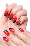 Принципиальная схема искусства ногтя с руками Стоковая Фотография RF