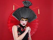 Принципиальная схема красоты девушки гейши Стоковые Изображения RF