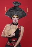 Принципиальная схема красоты девушки гейши Стоковые Фото