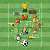 принципиальная схема крупного плана шарика обувает спорт футбола иллюстрация вектора