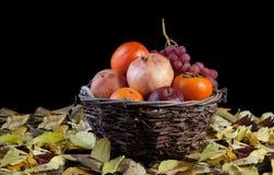 принципиальная схема клиппирования корзины осени яблока fruits полная тыква груши путя хлебоуборки виноградин Стоковое Изображение RF