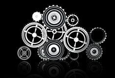 Принципиальная схема машинного оборудования и титана шестерни иллюстрация штока