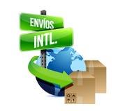 Принципиальная схема международной доставки в испанском языке бесплатная иллюстрация