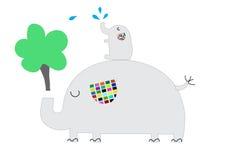 Принципиальная схема дня земли Дерево милого слона растущее и мочить его Стоковые Фото