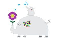 Принципиальная схема дня земли Цветок милого слона растущий и мочит его Стоковые Изображения