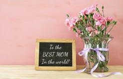 Принципиальная схема дня матерей Букет цветков гвоздики в вазе Стоковые Изображения RF