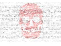 Принципиальная схема обеспеченности компьютера Череп шестнадцатиричного кода Пират онлайн Преступники кибер Хакеры треснули код Стоковые Изображения RF