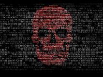 Принципиальная схема обеспеченности компьютера Череп шестнадцатиричного кода Пират онлайн Преступники кибер Хакеры треснули код Стоковое фото RF