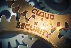 принципиальная схема облака 3d представляет обеспеченность cog зацепляет золотистое иллюстрация 3d Стоковые Изображения