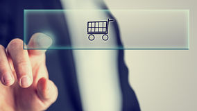 Принципиальная схема он-лайн покупкы Стоковые Изображения RF