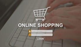 Принципиальная схема он-лайн покупкы стоковое изображение