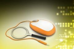 принципиальная схема предпосылки 3d изолировала представленную белизну Лупа с мышью компьютера Стоковые Изображения
