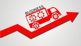 Принципиальная схема сыгранности автомобиль и красная стрелка Стоковая Фотография