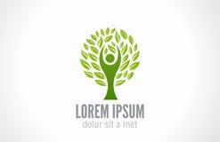 Принципиальная схема экологичности. Шаблон логотипа дерева зеленого цвета Eco. Стоковое Изображение