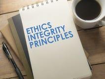 Принципы целостности этик, концепция цитат слов дела стоковые изображения rf