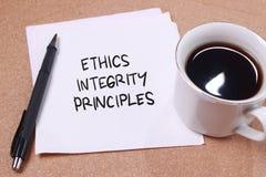 Принципы целостности этик, концепция цитат слов дела стоковые изображения