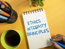 Принципы целостности этик, концепция цитат слов дела стоковые фотографии rf