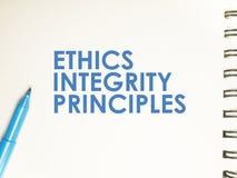 Принципы целостности этик, концепция цитат слов дела стоковое фото rf