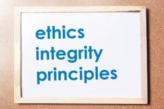 Принципы целостности этик, концепция цитат слов дела стоковая фотография rf