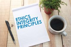 Принципы целостности этик, концепция цитат слов дела стоковое изображение rf