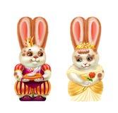 Принц и Золушка кролика, белые в красных пятнах, изолированных на белизне бесплатная иллюстрация