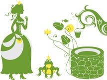 Принц и принцесса лягушки колодцем бесплатная иллюстрация
