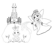 Принц персонаж из мультфильма и красивая фея лягушки Стоковые Изображения