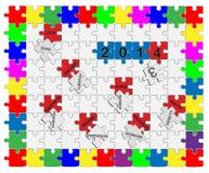 Принятие желаемого за действительное падающее вниз 1 головоломки 2013 до 2014 зигзага - Стоковые Фото