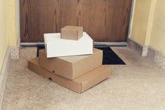 Приобретение 4 дома поставки коробок Стоковое Изображение