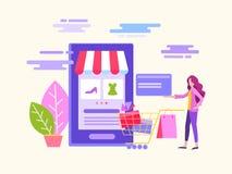 Приобретение и доставка товаров и подарков через онлайн ходя по магазинам концепцию бесплатная иллюстрация