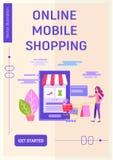 Приобретение и доставка товаров и подарков через онлайн ходя по магазинам концепцию иллюстрация штока