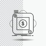 приобретение, магазин, приложение, применение, мобильная линия значок на прозрачной предпосылке r иллюстрация штока