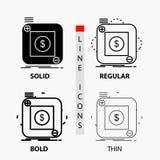 приобретение, магазин, приложение, применение, мобильный значок в тонких, регулярных, смелых линии и стиле глифа r иллюстрация штока