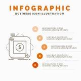 приобретение, магазин, приложение, применение, мобильный шаблон Infographics для вебсайта и представление Линия серый значок с ап иллюстрация вектора