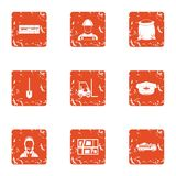 Приобретение материальных значков установило, стиль grunge иллюстрация вектора