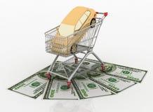 Приобретение машины в тележке от супермаркета бесплатная иллюстрация