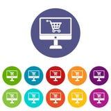 Приобретение на значках онлайн магазина установленных бесплатная иллюстрация