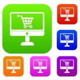 Приобретение на онлайн магазине через собрание компьютера установленное иллюстрация штока