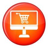 Приобретение на онлайн магазине через значок компьютера иллюстрация вектора