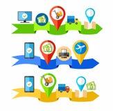 Приобретение товаров и билетов через интернет иллюстрация вектора