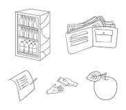 Приобретение, товары, покупки, витрина Значки собрания супермаркета установленные в плане вводят иллюстрацию в моду запаса символ бесплатная иллюстрация