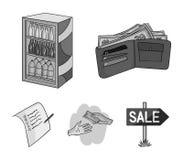 Приобретение, товары, покупки, витрина Значки собрания супермаркета установленные в monochrome стиле vector запас символа иллюстрация штока